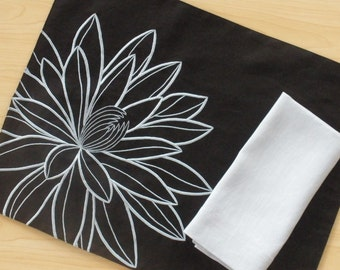Lotus Placemats, Linen Placemat set of 4, Black Linen Light Blue Flower, Embroidered Linen, Fabric Placemat, Table Linen, Dining Textile
