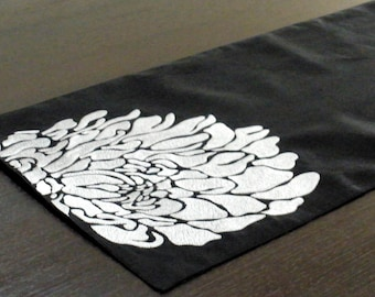 "Floral Table Runner, Table Linen, Tabletop, Black Linen, Gray Silver Flower, Embroidered Table Runner 14"" x 64"", Modern, Floral Home Decor"