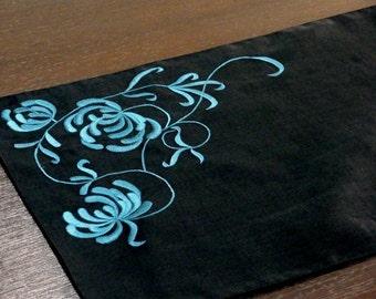 Table Runner, Linen Table Runner, Long Table Runner, Black Linen Blue Gray Flower, Custom Wedding Table Runner,Table Linen Embroidered linen