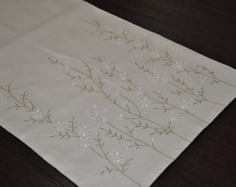 "Flowers Table Runner, Linen Table Runner 14"" x 64"", Beige Linen Pastel Flower Embroidery, Embroidered linen, Floral Table Linen, Table top"