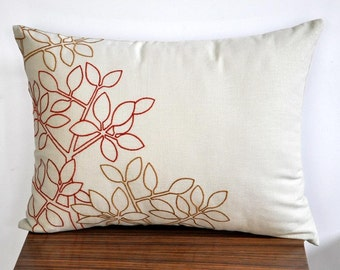 Leaves Lumbar Pillow Cover, Oatmeal Linen Orange Ochre Leaves, Embroidered Pillow, Floral Pillow Cover, Long Lumbar Pillow, Home Decor