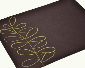 Linen Placemat Set of 4, Dark Brown Linen Green Leaves Embroidery, Fabric Placemat, Table Linen, Table top, Custom Placemats, Wedding Gift