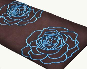 Table Runner, Linen Table Runner, Dark Brown Linen Blue Rose Embroidery,Table Linen, Long Table Runner, Wedding table runner, Customized