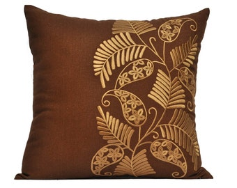 Throw Pillow Cover, Decorative Pillow Cover, Pillow Accent, Russet Brown linen Gold Flower Embroidery, Cushion, Couch Pillow, Home Decor