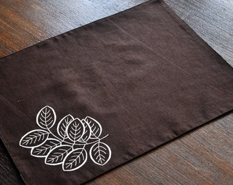 Placemats, Linen Placemats Set of 4, Dark Brown Linen Off White Basil Leaves Embroidery, Fabric Placemats, Table Linen, Custom, Table Top,