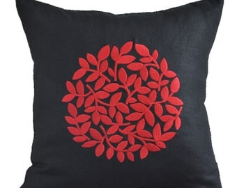 Black Red Pillow Cover, Modern Contemporary Pillow, Black Linen Red Floral Embroidery, Flower Decorative throw pillow, Floral Bedding