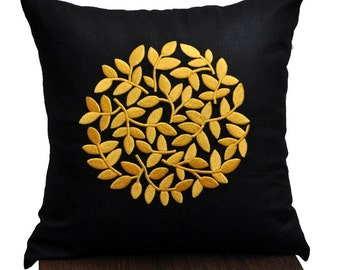 Yellow Floral Pillow Cover, Black Linen Pillow Yellow Flower Embroidery, Decorative pillow for couch,Modern Home Decor, Flower Cushion Cover