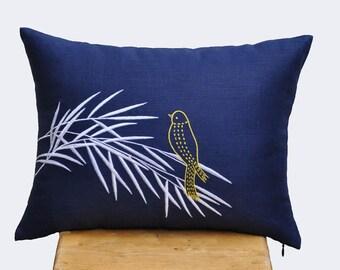 Bird  Lumbar Pillow Cover, Decorative Pillow Cover,Navy Blue Pillow, Yellow Bird on Bamboo Embroidery, Cushion Cover, Couch Pillow