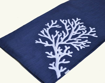 "Coral Table Runner, Embroidered Linen Table Runner 14"" x 64"", Navy Blue Linen White Coral, Nautical Table Linen, Cottage decor, Coral decor"