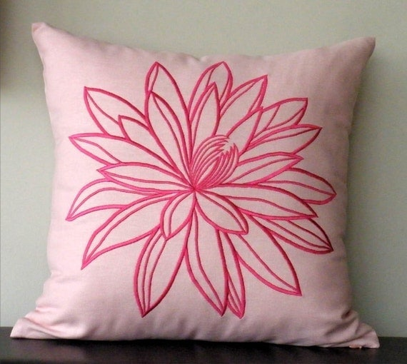 """Pink Lotus Embroidery  Throw Pillow Cover - 18"""" x 18"""" Decorative Pillow Cover  - Pink Cotton with Fuchsia Flower Embroidery"""