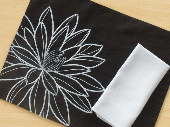 "Big Lotus Embroidery Linen Placemats 14"" x 18""  -Set of 4 - Black Linen with Blue Flower Embroidery"
