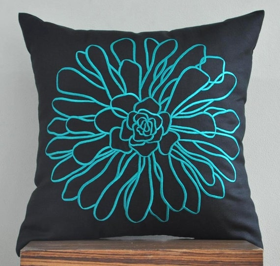 Teal Decorative Pillow Cover Throw Pillow Cover Teal by KainKain