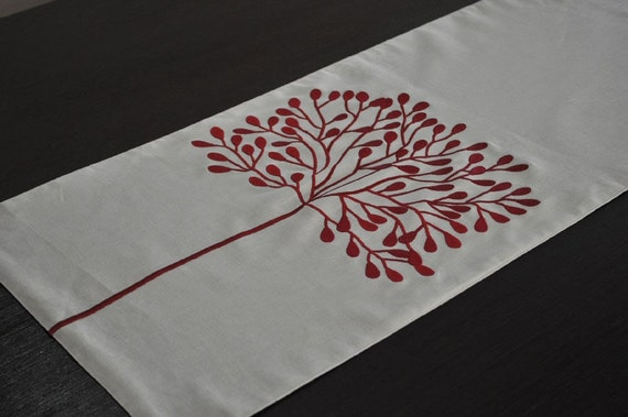 "Red Tree Table Runner - Embroidered Linen Table Runner 14"" x 64"" - Oatmeal Linen Table Runner with Red Tree Embroidery"