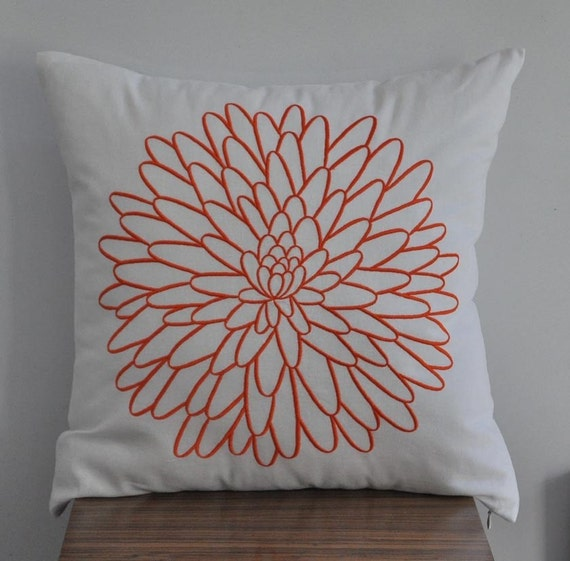 White Linen Throw Pillow : Decorative Throw Pillow Cover White Linen pillow with Orange
