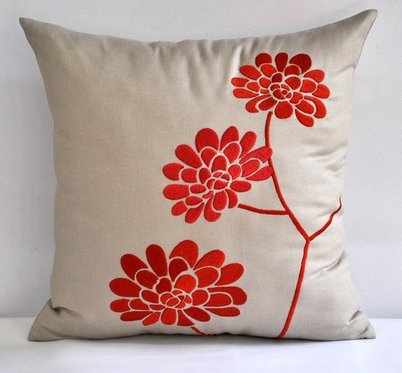 "Orange Peonies Throw  Pillow Cover - 18"" x 18""  Embroidered Decorative Pillow Cover - Tan Linen with  Orange Floral Embroidery"