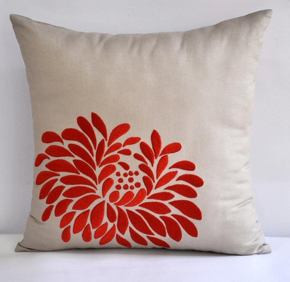 """Orange Dahlia- Throw  Pillow Cover - 18"""" x 18""""  Decorative Pillow Cover - Tan Linen with  Orange Floral Embroidery"""