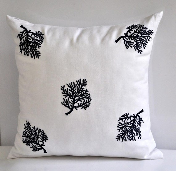 Coral Sofa Pillow: Coral Couch Pillow Cover White Linen Navy Blue Coral By