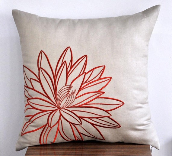 Tan and Orange Lotus Throw Pillow Cover Pillow Cover