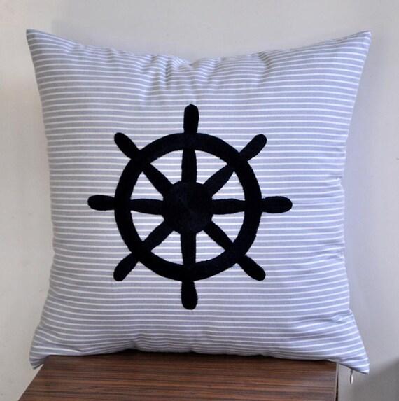 Ship Wheel Decorative Pillow Cover Stripe Blue By Kainkain