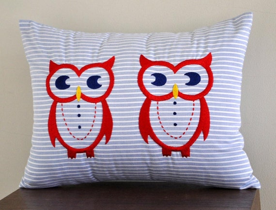 """Twin Owls Lumbar Pillow Cover - 12"""" x 16"""" Decorative Pillow Cover -  Blue Striped Cotton with Red Owls embroidery"""