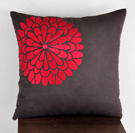 Red Throw Pillows Etsy : Red Throw Pillow Cover Decorative Pillow Couch Pillow by KainKain