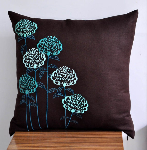 Throw Pillow Covers Teal : Teal Throw Pillow Cover Teal floral embroidery on Dark by KainKain
