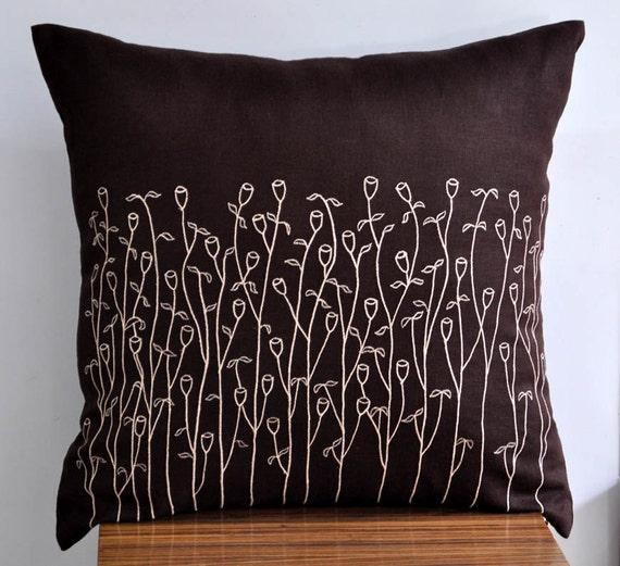 Brown Linen Throw Pillow : Grass Floral pillow cover Dark Brown Linen Beige Grass