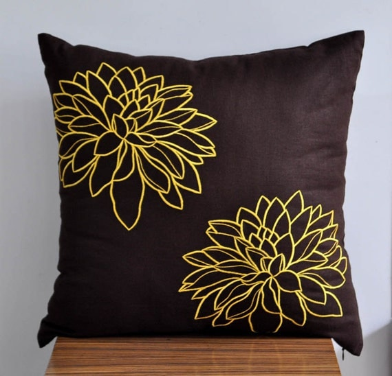 Dark Brown Throw Pillow : Yellow Floral Throw Pillow Cover Decorative Pillow by KainKain
