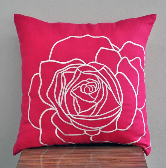 Pink Decorative Pillow Covers : Fuchsia Pink Flower Pillow Cover Decorative Throw by KainKain