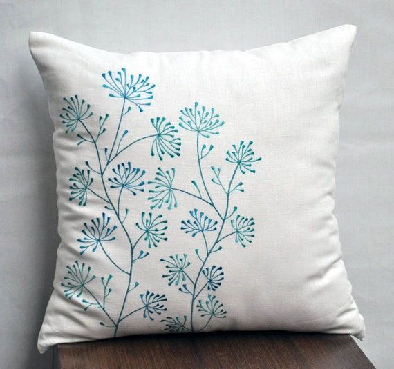 Teal And Cream Decorative Pillows : Teal Floral Pillow Cover Cream Linen Teal Flower by KainKain