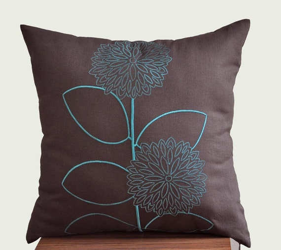 Teal Throw Pillow Cover Dark Brown Linen Pillow by KainKain