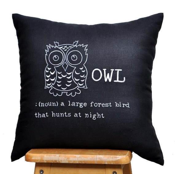 Owl Throw Pillow Etsy : OWL Decorative Pillow Cover Throw Pillow Cover Modern by KainKain