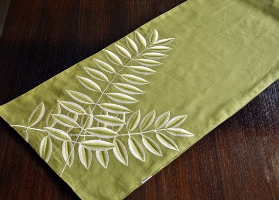 "Green Acacia Leaves Table Runner- 14"" x 64"" Linen Table Runner -  Green Linen Fabric with Leaves Embroidery"