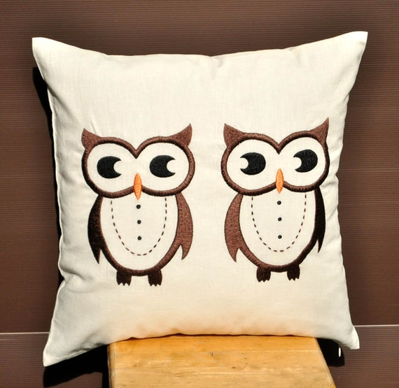 Embroidery Cream Decorative Pillows : Items similar to Owls Throw Pillow Cover ,Decorative Pillow Cover, Cream Linen Pillow Cover ...