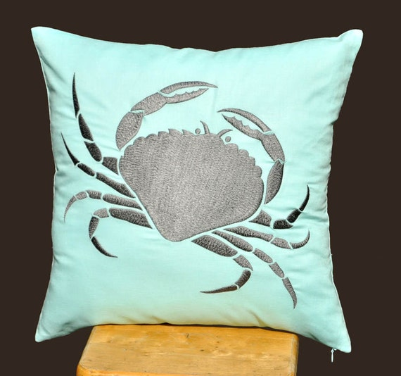 Crab Pillow Cover, Decorative Pillow, Cushion Cover,  Light Blue Pillow, 18 x 18, Gray Crab Embroidery, Nautical