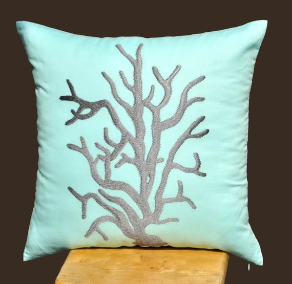 Reef Cushion Cover, 18 x 18 Throw Pillow Cover, Gray Coral, Light Blue Pillow, Nautical Pillow, Decorative Pillow, Home Decor