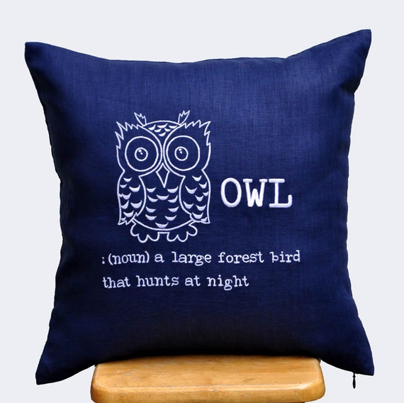 Owl Pillow Cover Throw Pillow Cover Navy Blue Linen by KainKain