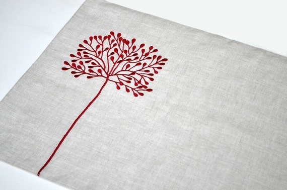 Red Tree Placemat, Placemat Set of 4, Red Floral Natural Linen Placemats, Embroidered Placemats, Modern Table Linen, Custom Placemats