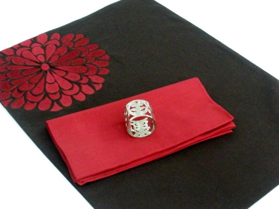 Ruby Flock Flower Placemat - Set of 4
