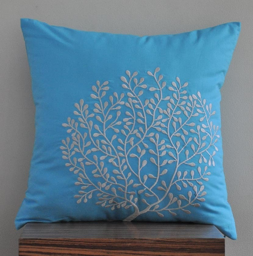 Light Gray Decorative Pillow : Light Gray Coral Throw Pillow Cover 18 x 18 by KainKain on Etsy