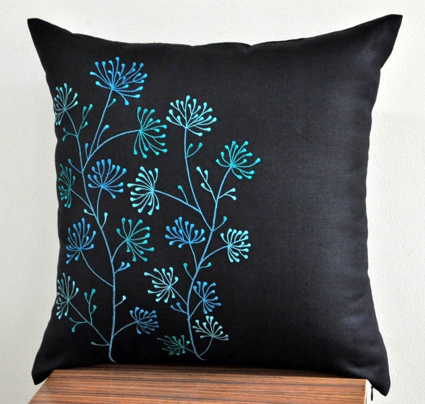 Teal Pillow Cover Flower Throw Pillow Cover Decorative