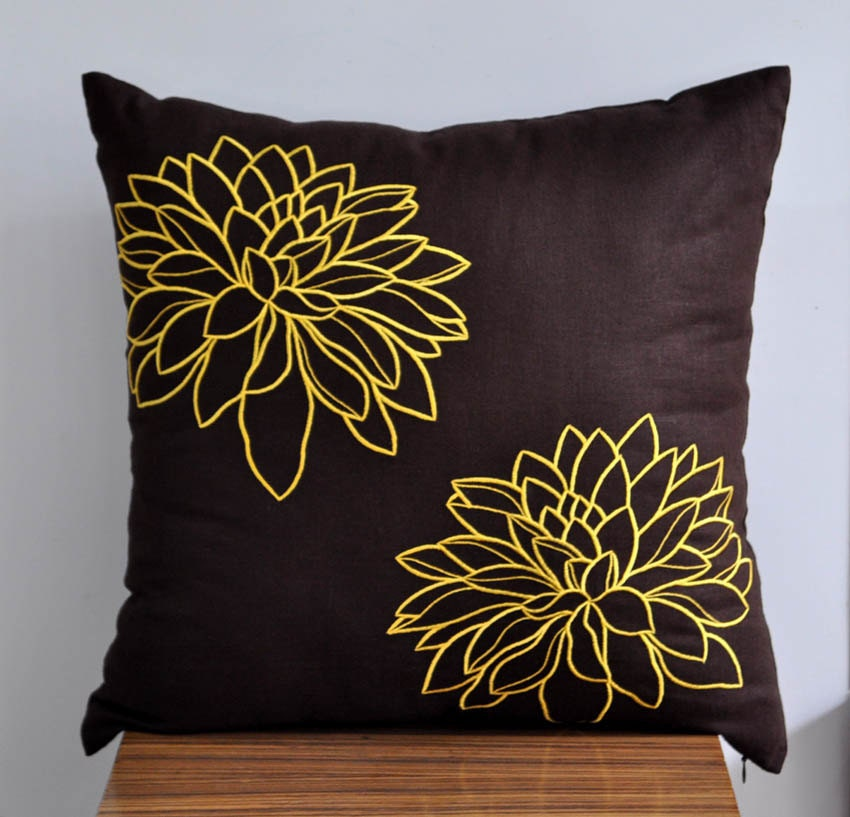 Yellow Brown Throw Pillows : Flower Throw Pillow Cover Brown Yellow Couch Pillow by KainKain