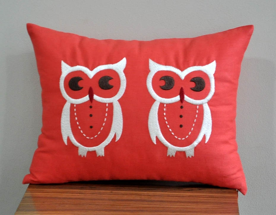 Owl Throw Pillow Etsy : Owls Lumbar Pillow Cover Decorative Pillow Cover Red by KainKain