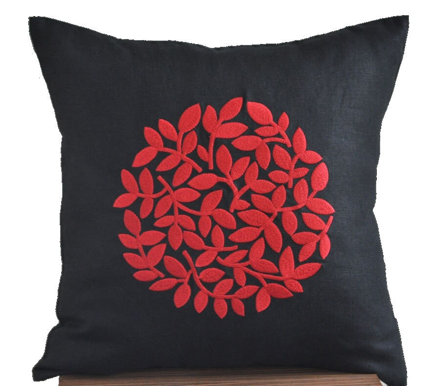 Black Red Pillow Cover Modern Contemporary Pillow Black