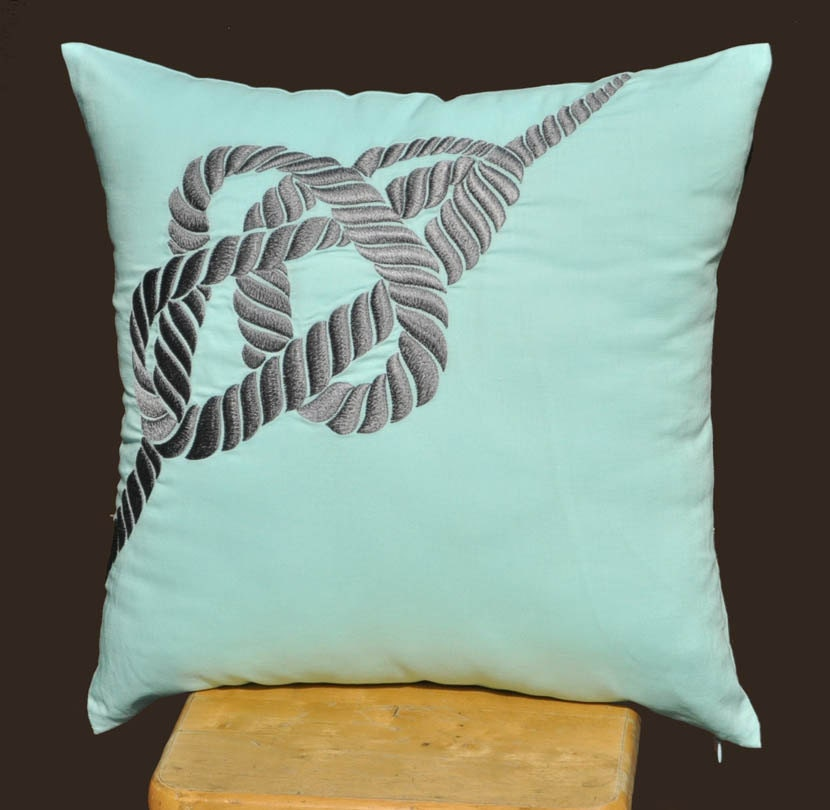 Throw Pillow Covers Nautical : RopeThrow Pillow Cover Gray Nautical Pillow Cover Light Blue