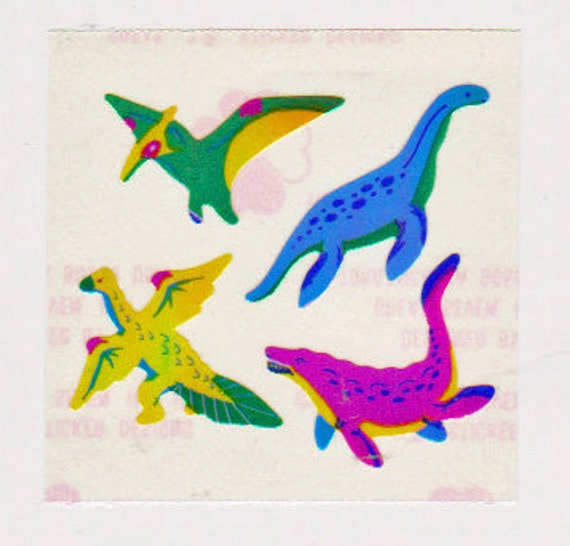Rare Vintage Retro 80s Great Seven Pearly Dinos Sticker Mod