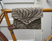 bike bag ... TopTube VeloPocket - taupe upholstery fabric WITH PURSE STRAP