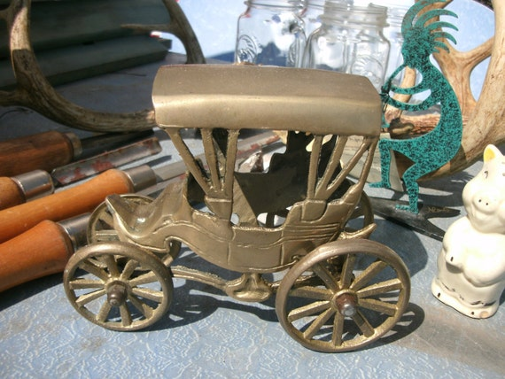 Reserved for Gail.....Vintage brass covered wagon