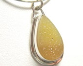Reserved for Taylor - A Drop of Sunshine - Lemonade Yellow Druzy Agate Necklace set in Fine Silver and Sterling Silver