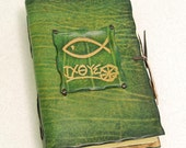 Christian Fish Leather Journal. Green Book for Prayers and Thoughts.